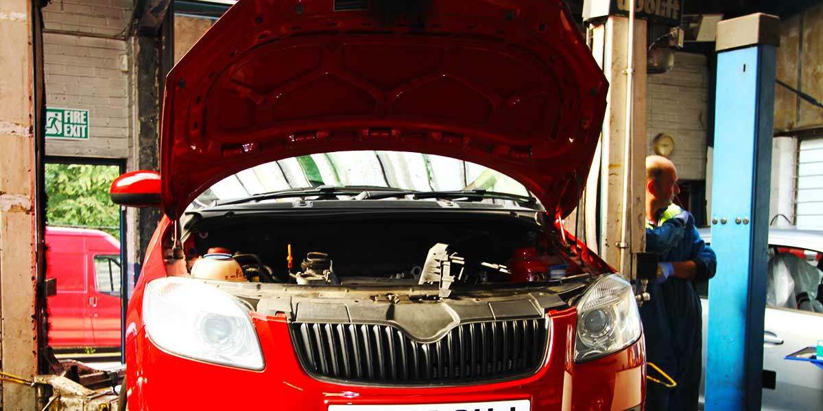 brand new skoda getting serviced at our chesterfield garage