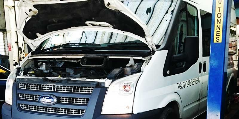 ford transit van not starting with bonnet up and one of our mechanics running tests