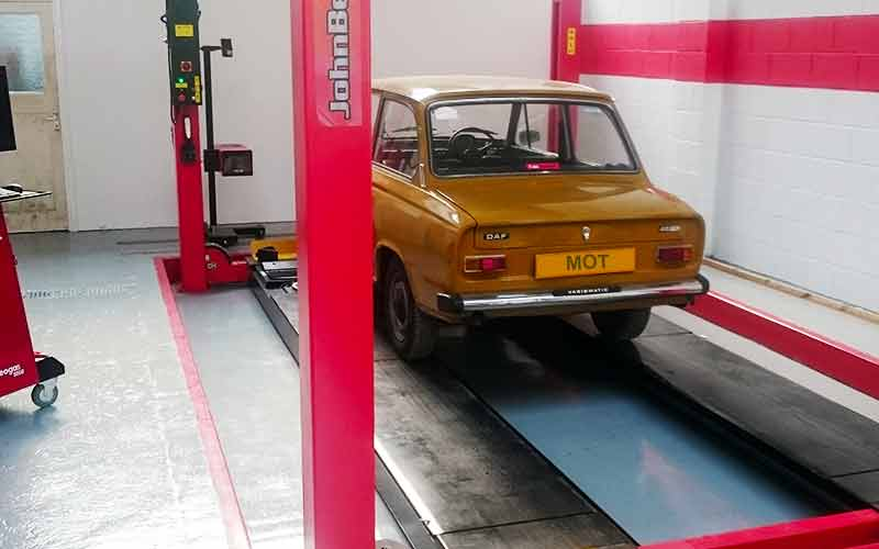 a very old wonderful daf car being mot tested at excels chesterfield mot testing center