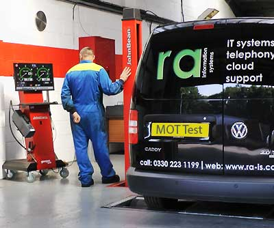 a chesterfield work van being mot tested by our specialist tester