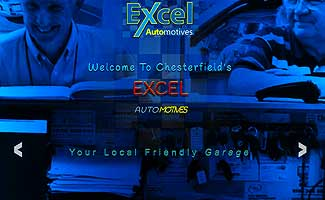 excels brand new garage web site home page screen shot