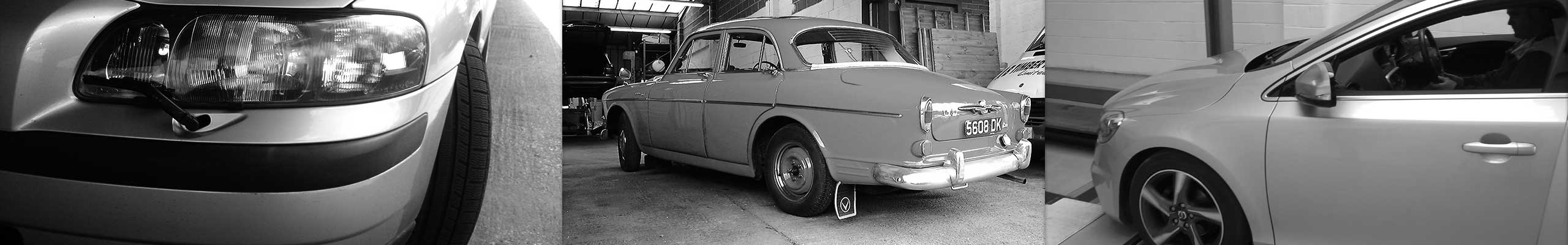 lovely black and white wide montage of very old to new volvos entering excels garage